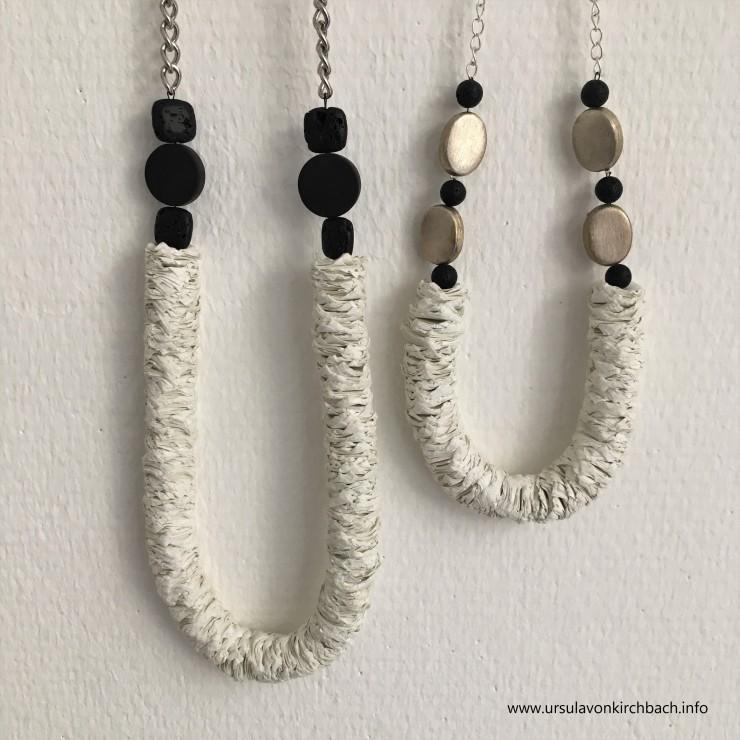 Papierketten weiß und schwarze Schmuckteile
